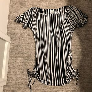 Cache black and white striped flowy top. Size S